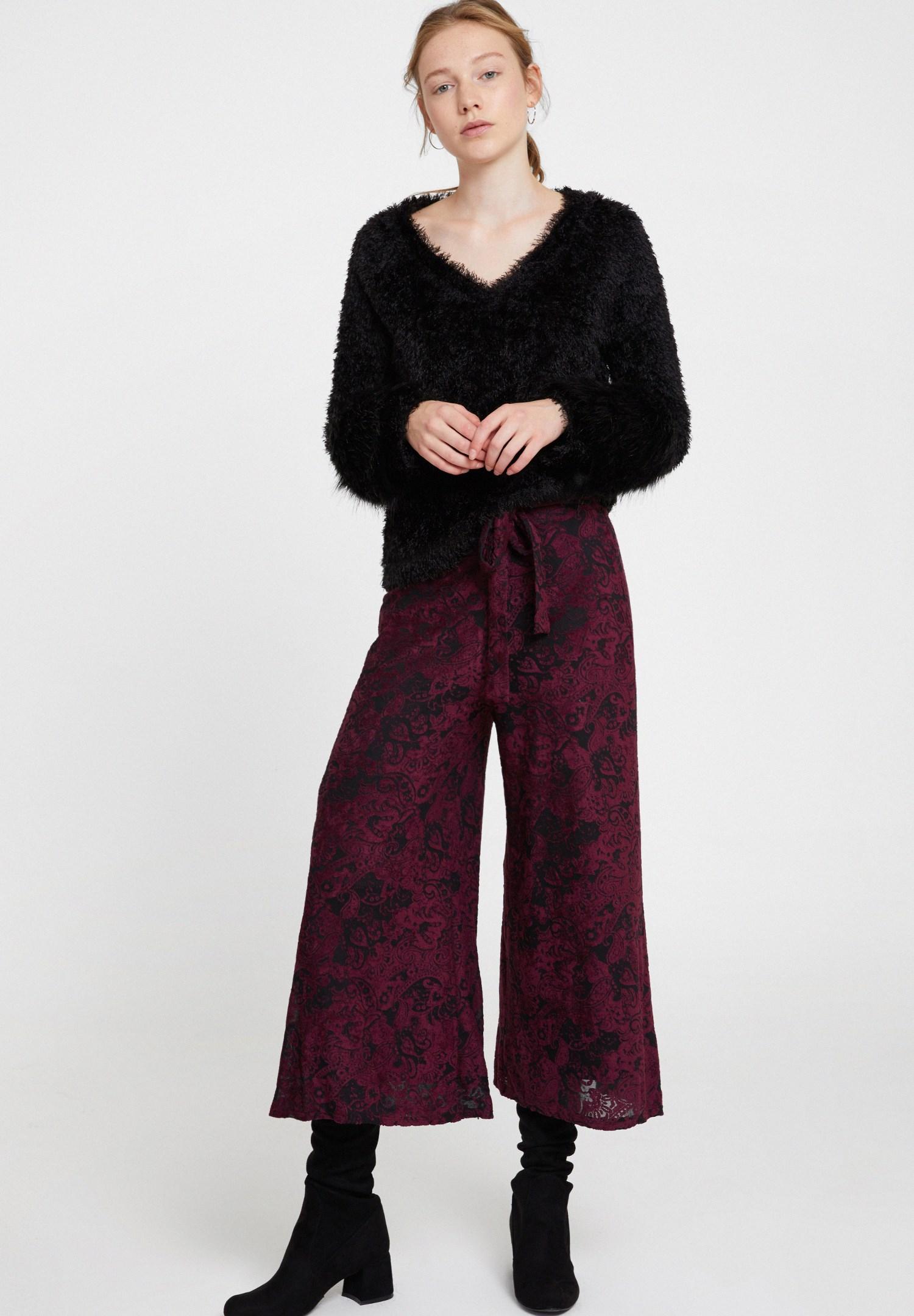 Bayan Bordo Kemer Detaylı Kadife Bol Pantolon