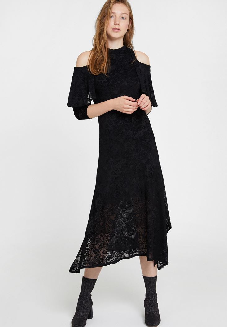 Black Velvet Dress with Shoulder Details