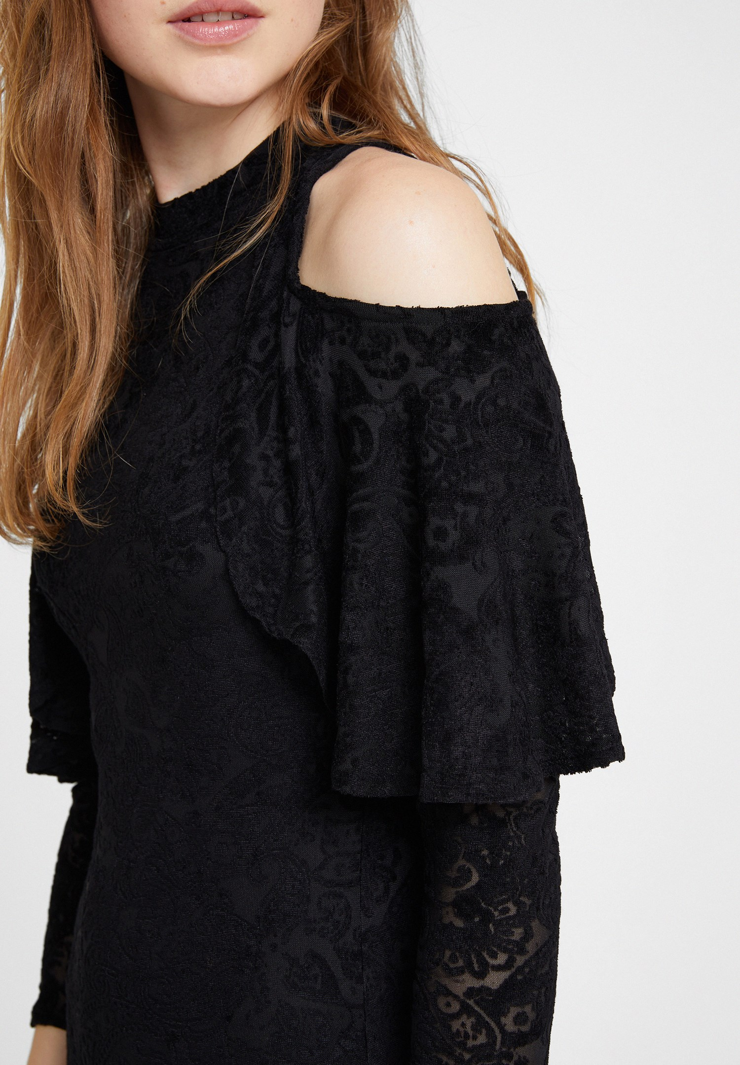 Women Black Velvet Dress with Shoulder Details