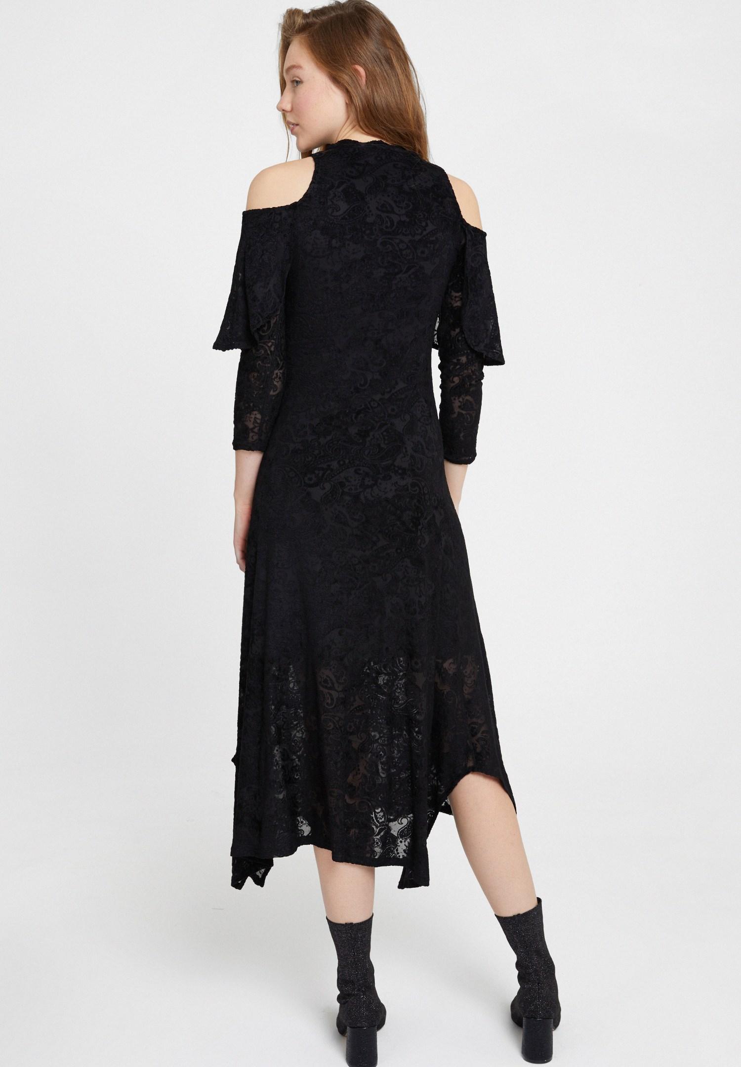 Bayan Siyah Omuz Detaylı Kadife Elbise