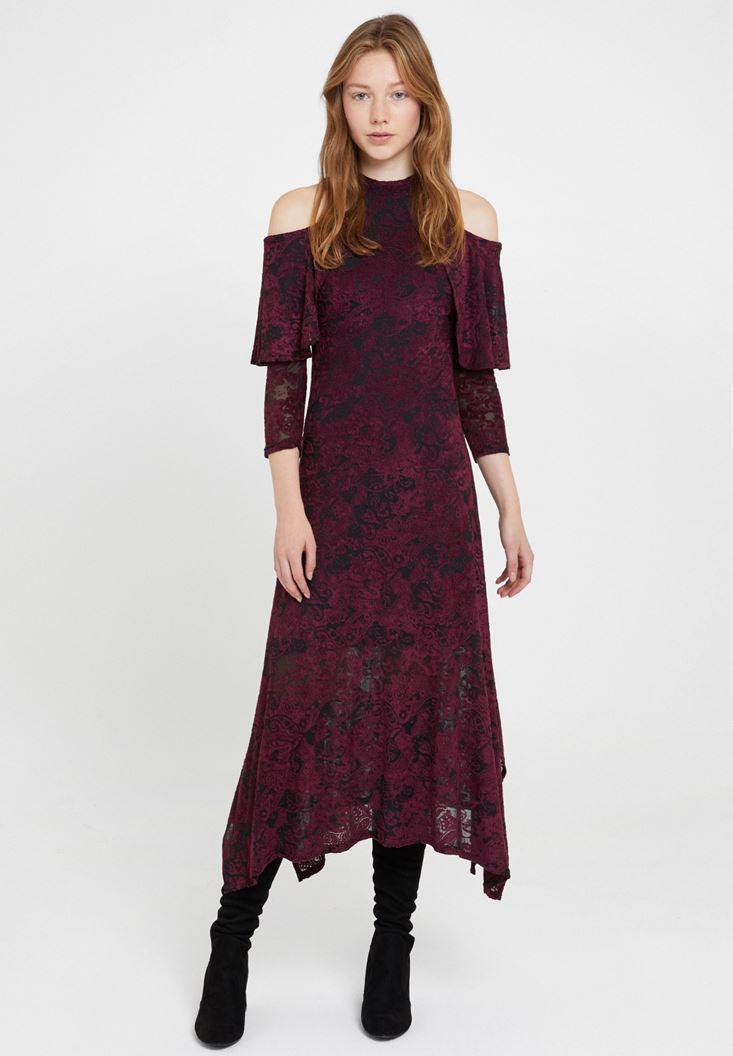 Bordo Omuz Detaylı Kadife Elbise