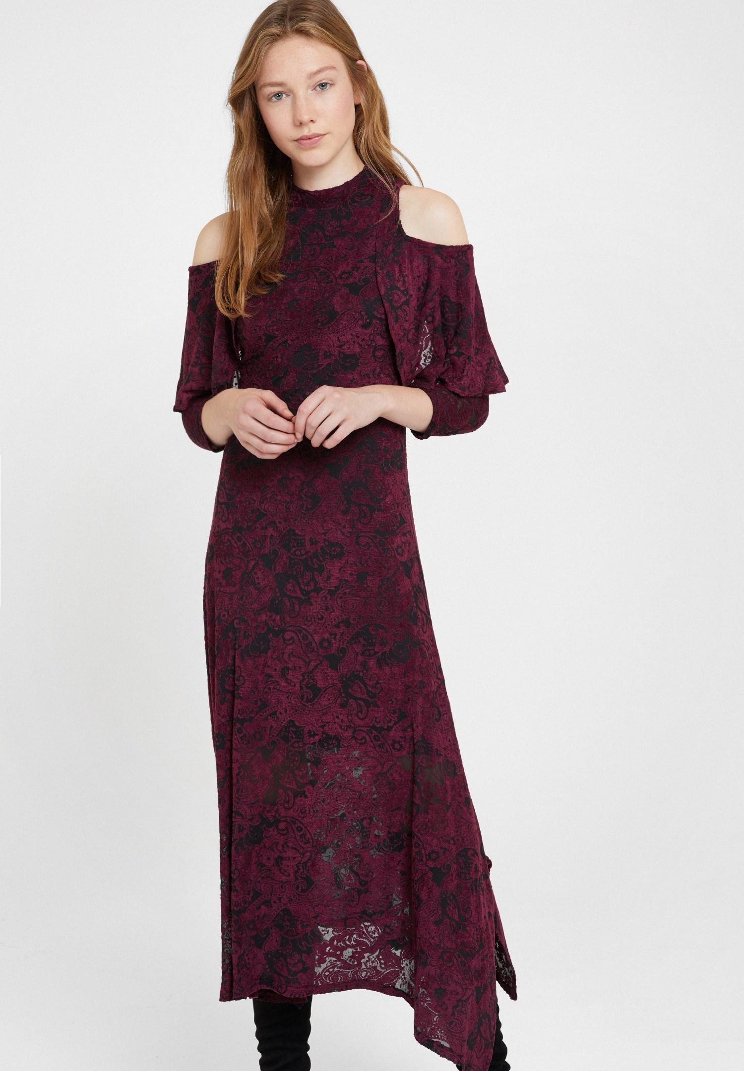 Bayan Bordo Omuz Detaylı Kadife Elbise