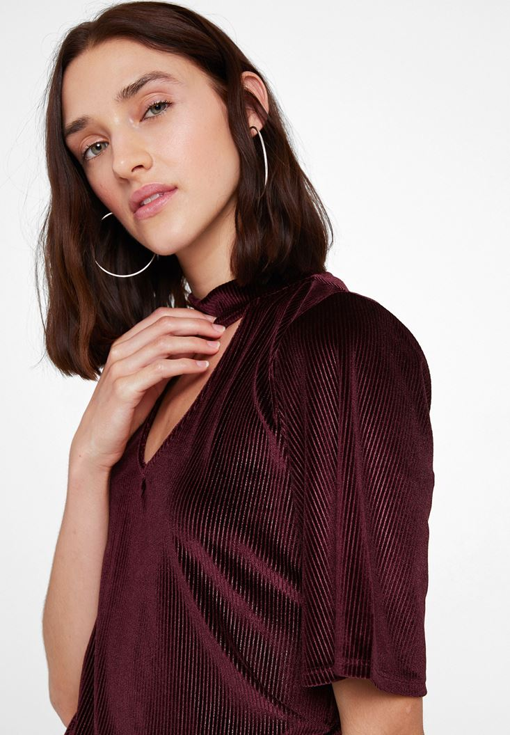 Bordeaux Velvet Blouse with Neck