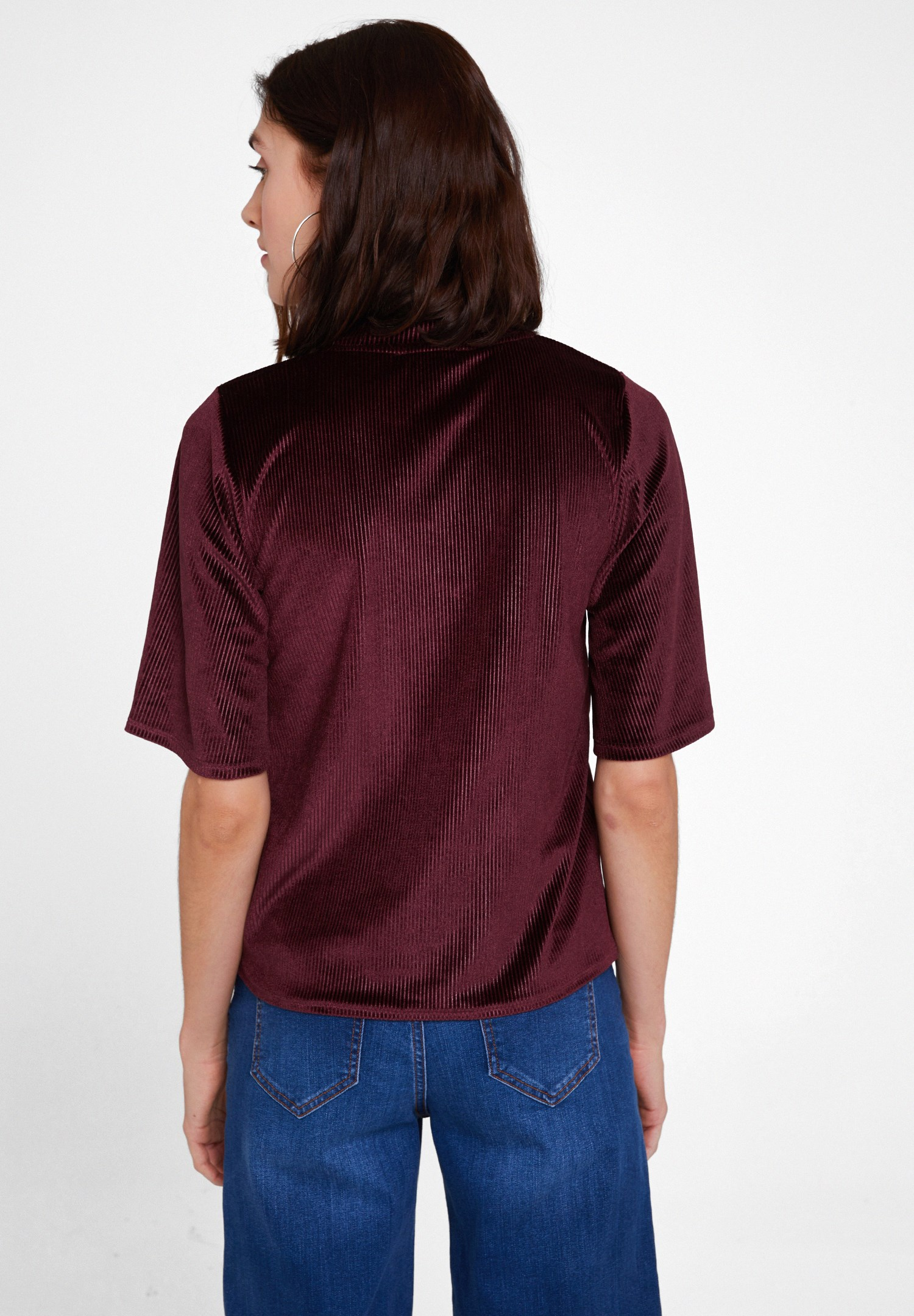 Women Bordeaux Velvet Blouse with Neck