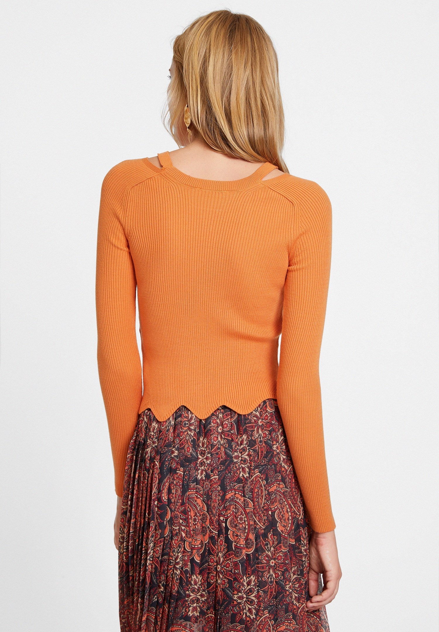 Women Orange Knitwear with Cut Out Details