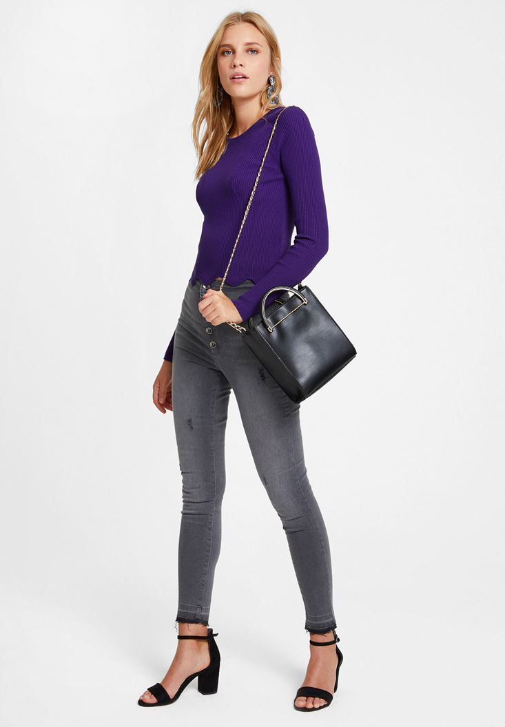 Purple Knitwear with Cut Out Details