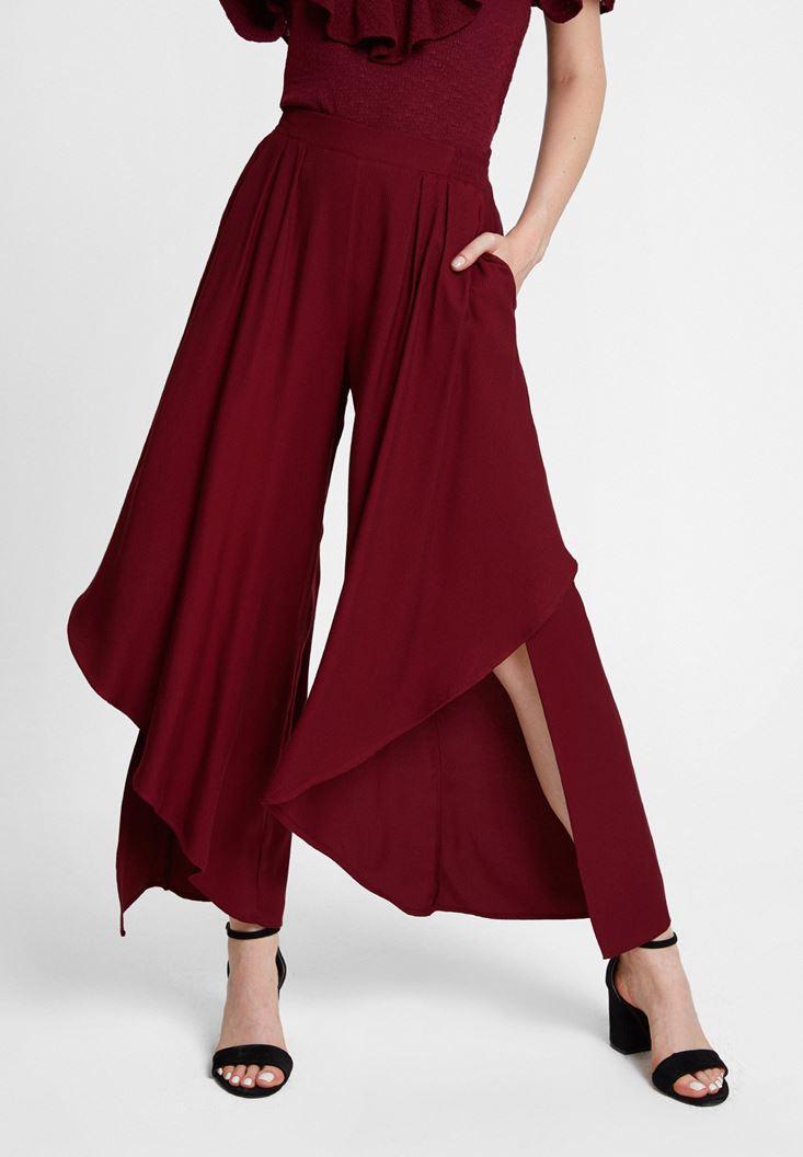 Kırmızı Paçası Volan Detaylı Pantolon
