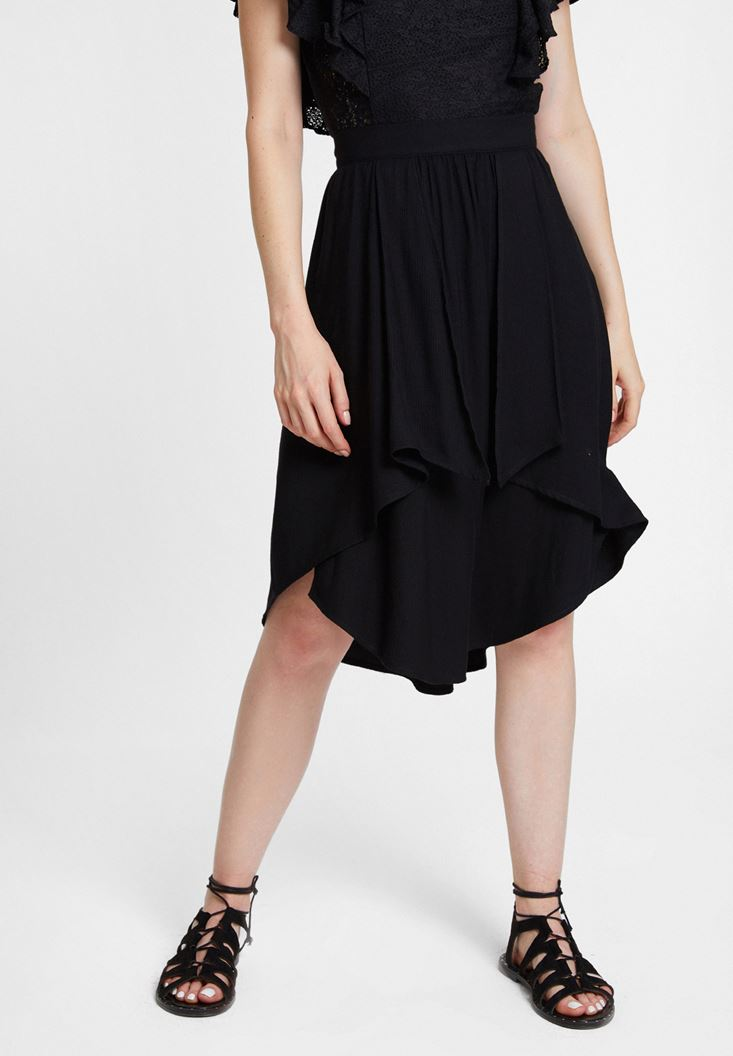 Black Frilled Skirt with Asymmetric Details