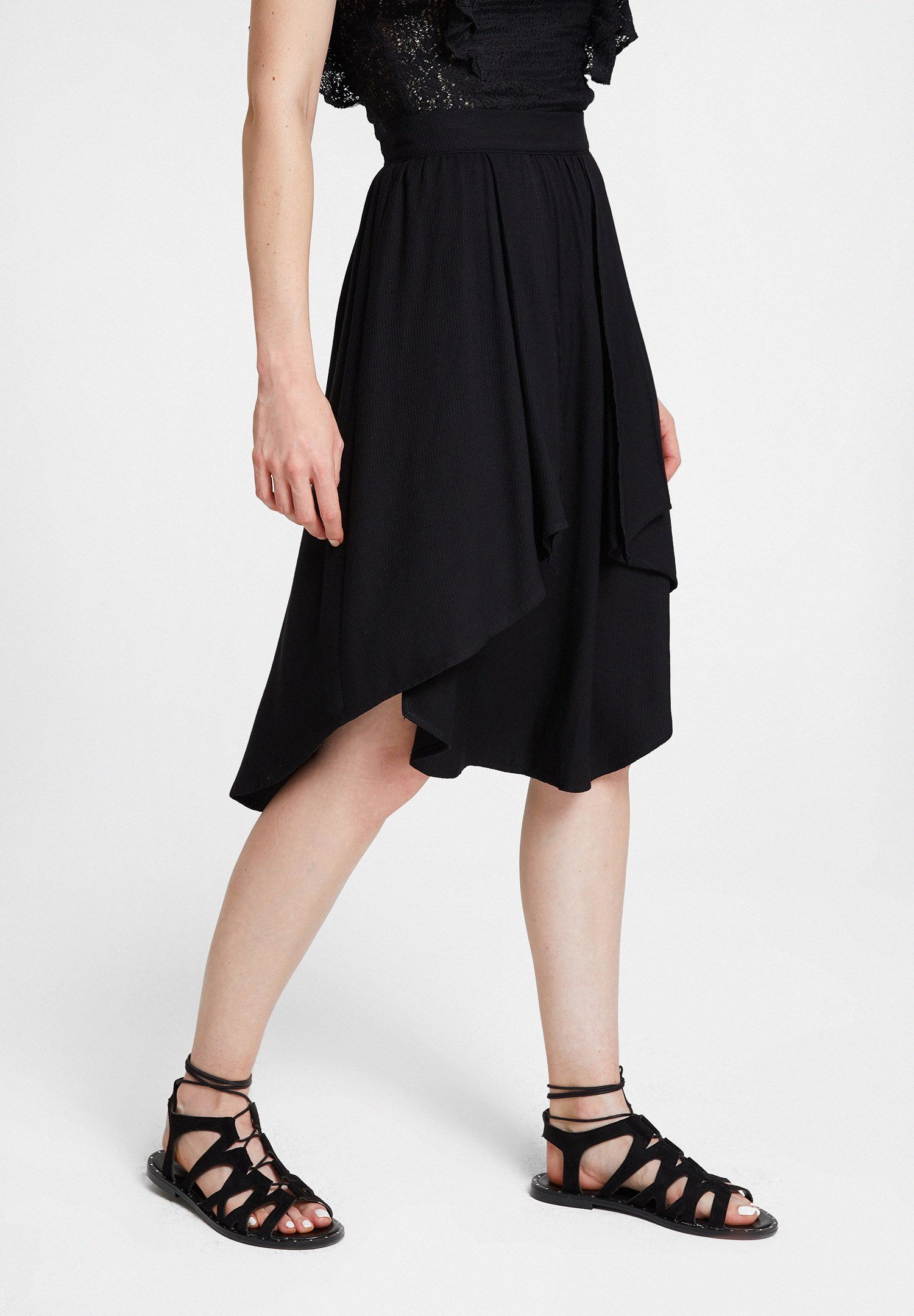 Women Black Frilled Skirt with Asymmetric Details