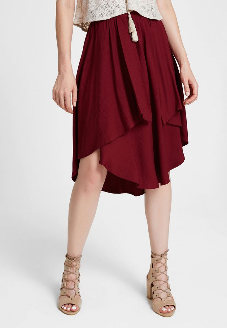 Bordeaux Frilled Skirt with Asymmetric Details