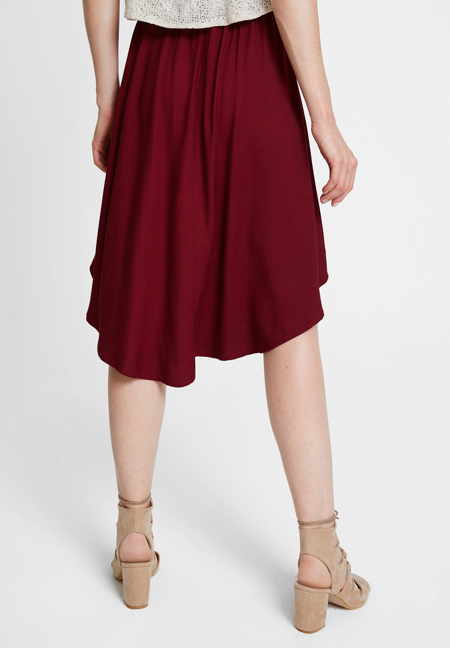 Women Bordeaux Frilled Skirt with Asymmetric Details