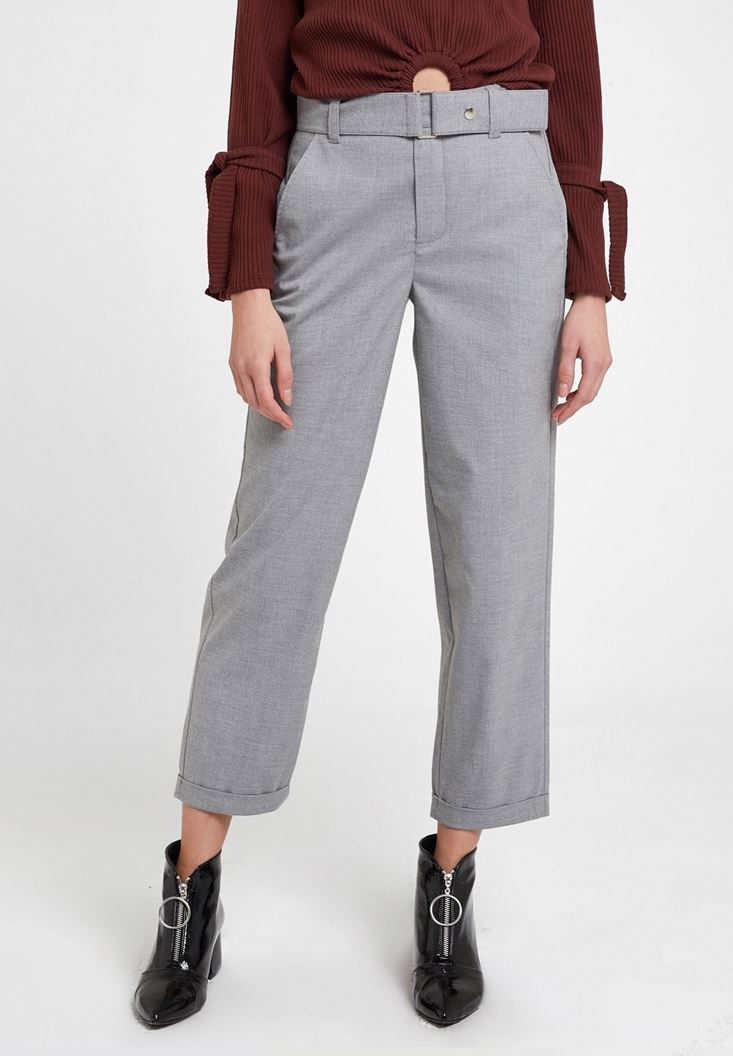 Grey Wide Leg Trousers with Belt