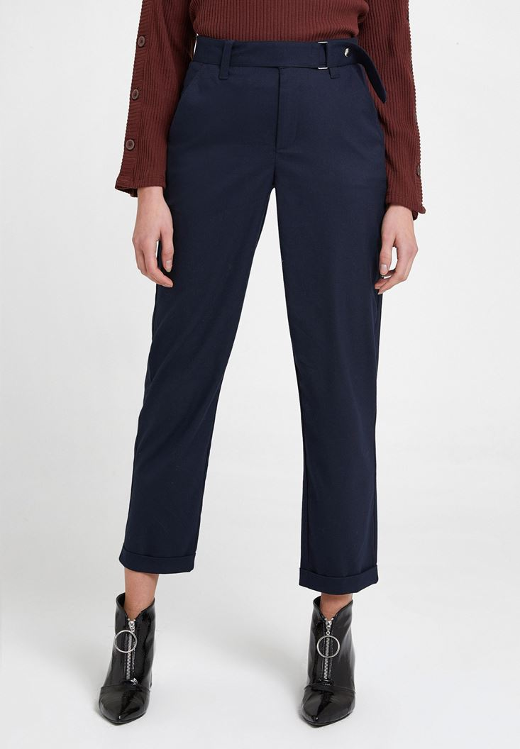 Navy Wide Leg Trousers with Belt