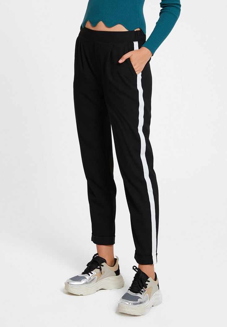 Black Jegging Trousers with Side Stripes