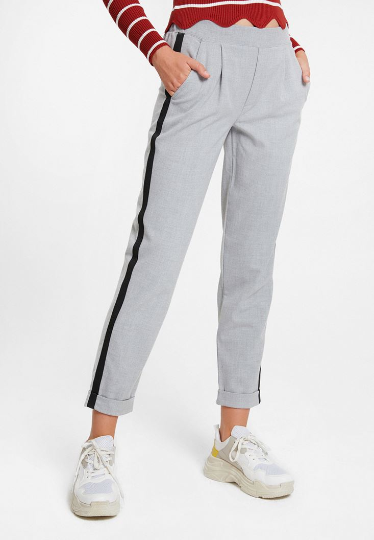 Grey Jegging Trousers with Side Stripes