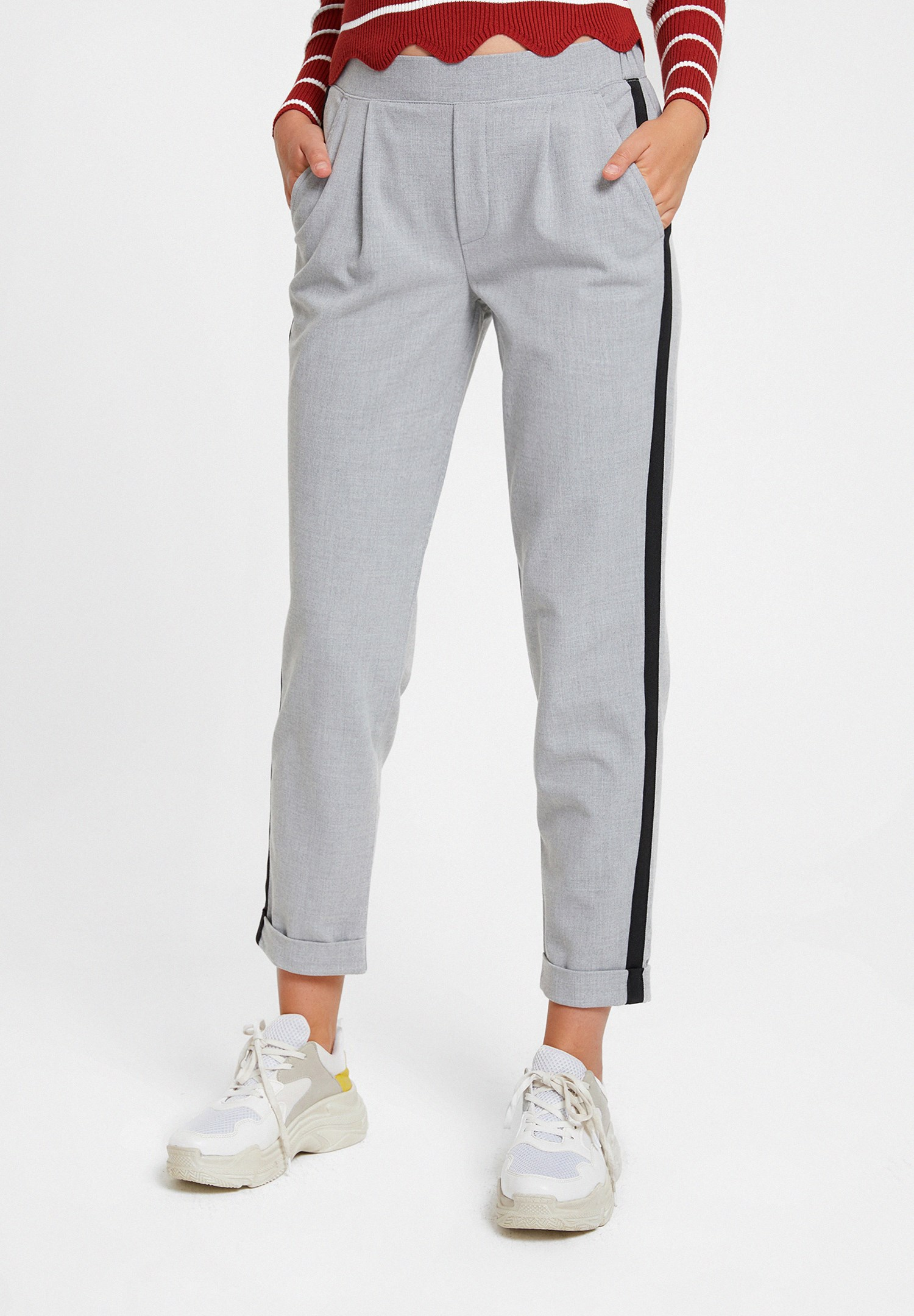 Women Grey Jegging Trousers with Side Stripes