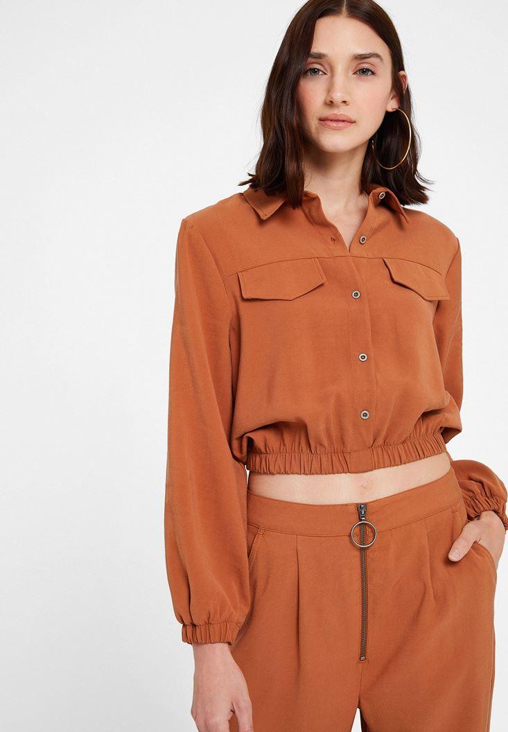 Kahverengi Büzgü Detaylı Cepli Gömlek
