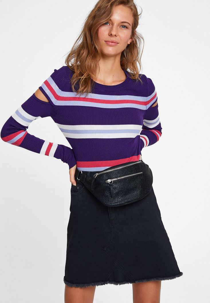 Mixed Striped Knitwear with Cut Out Details