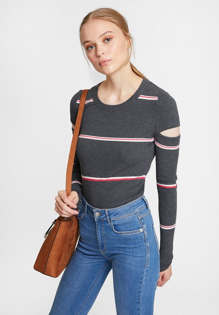 Mixed Long Sleeve Knitwear with Cut Out