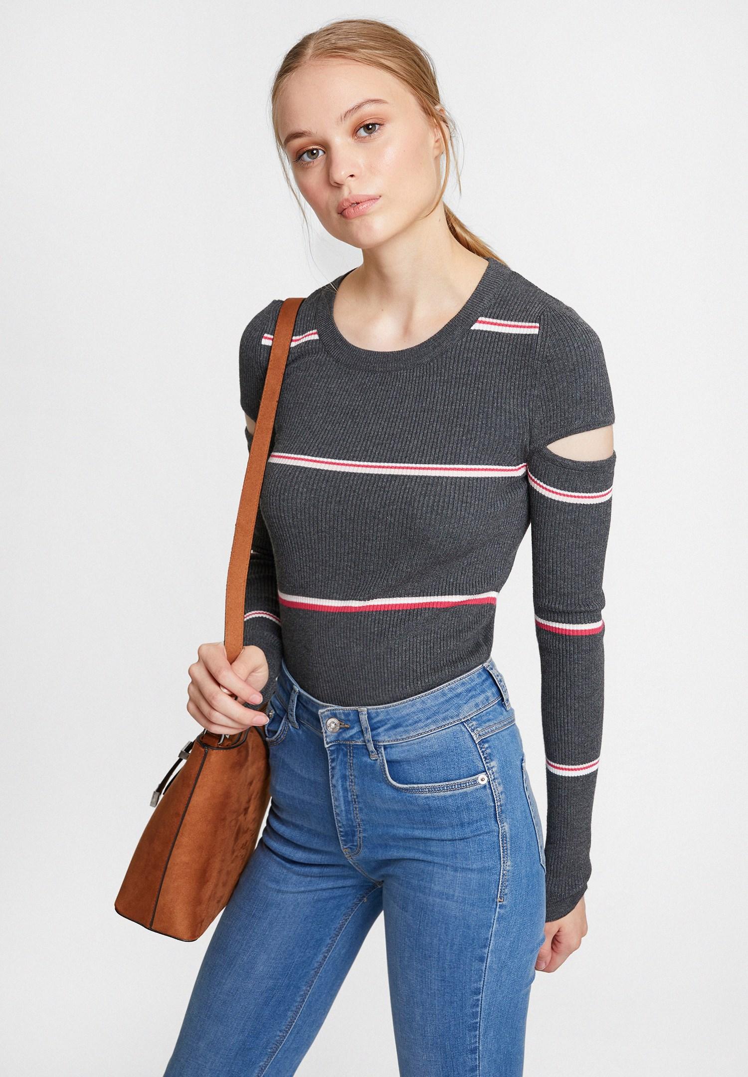 Bayan Çok Renkli Cut Out Detaylı Uzun Kollu Triko