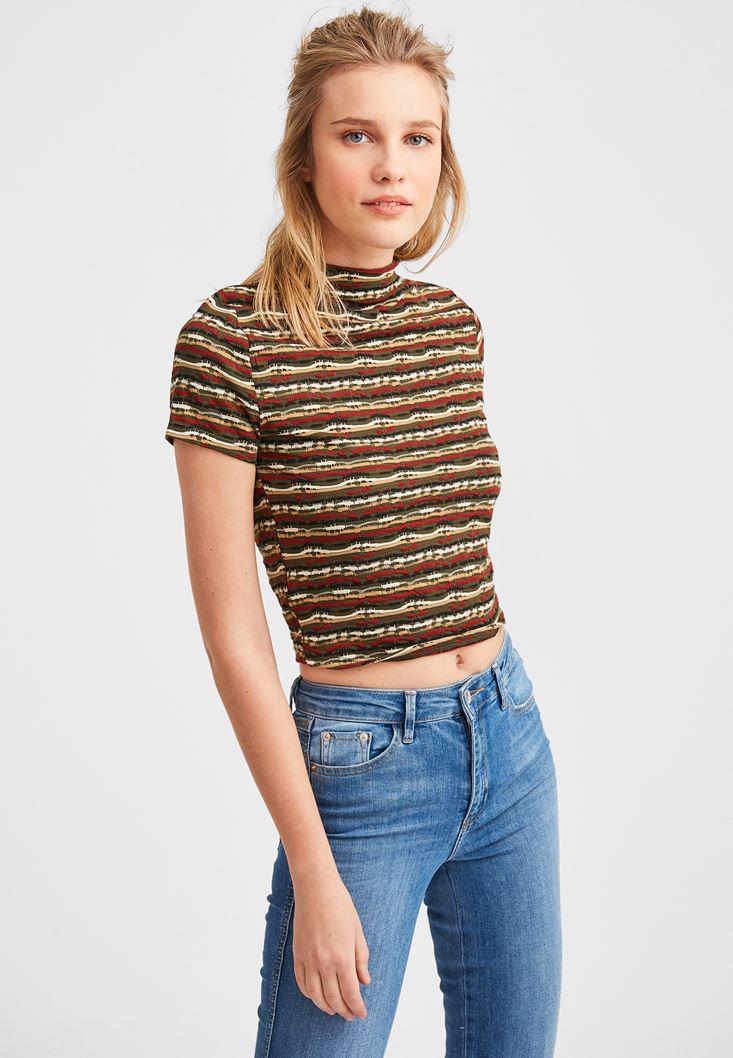 Çok Renkli Çizgi Desenli Yaka Detaylı Bluz