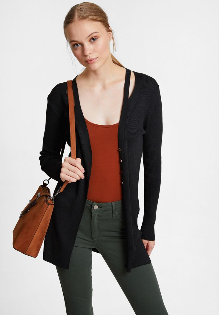 Black Cardigan with Cut Out Details