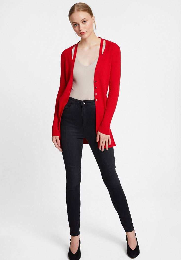 Red Cardigan with Cut Out Details