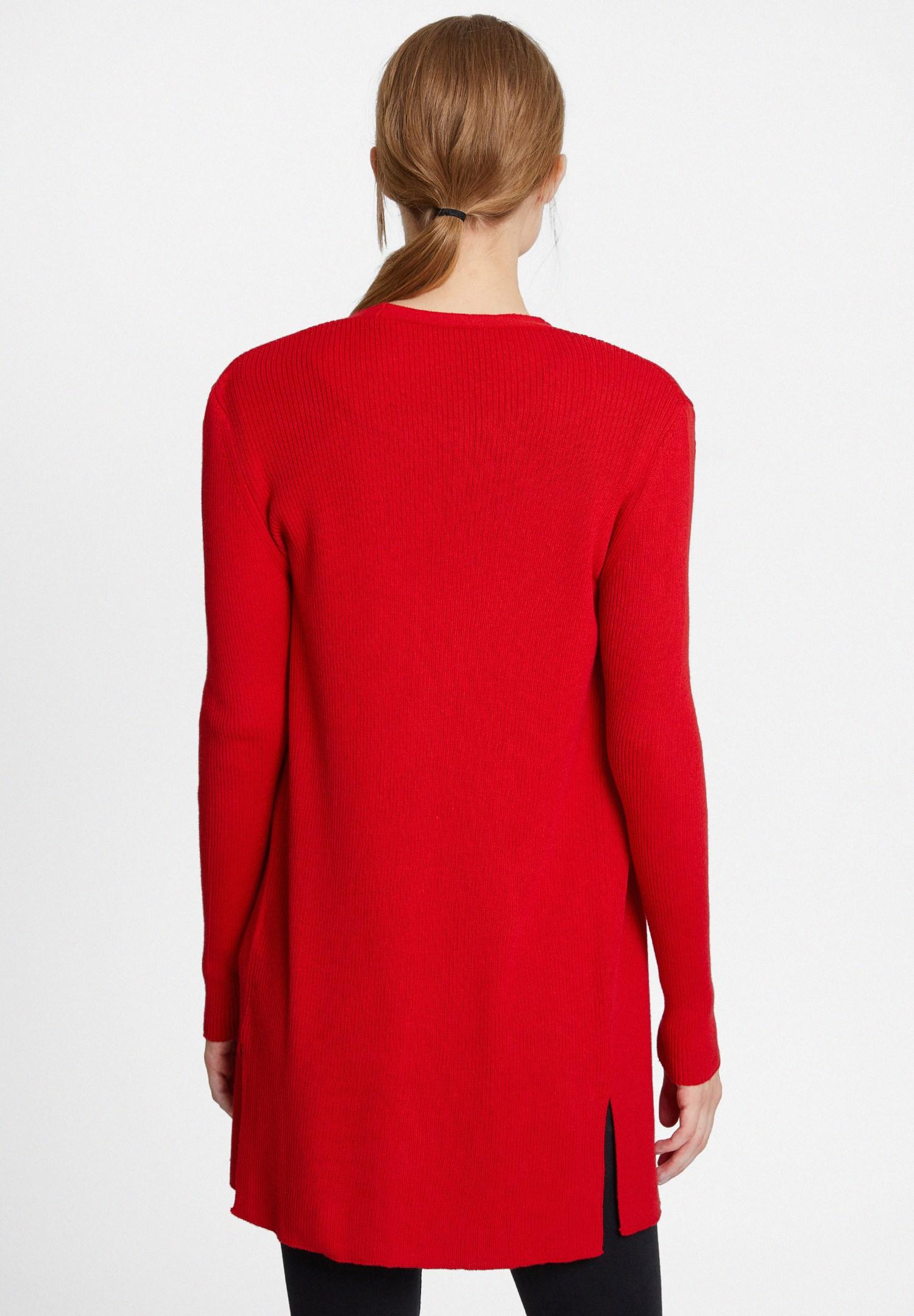 Bayan Kırmızı Yakası Kesik Detaylı Hırka