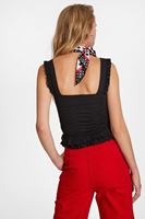 Women Black Textured Blouse with Ruffle