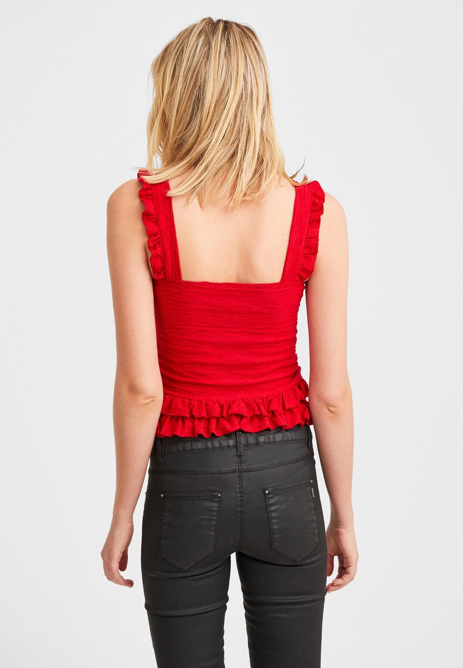 Bayan Kırmızı Fırfır Detaylı Dokulu Bluz
