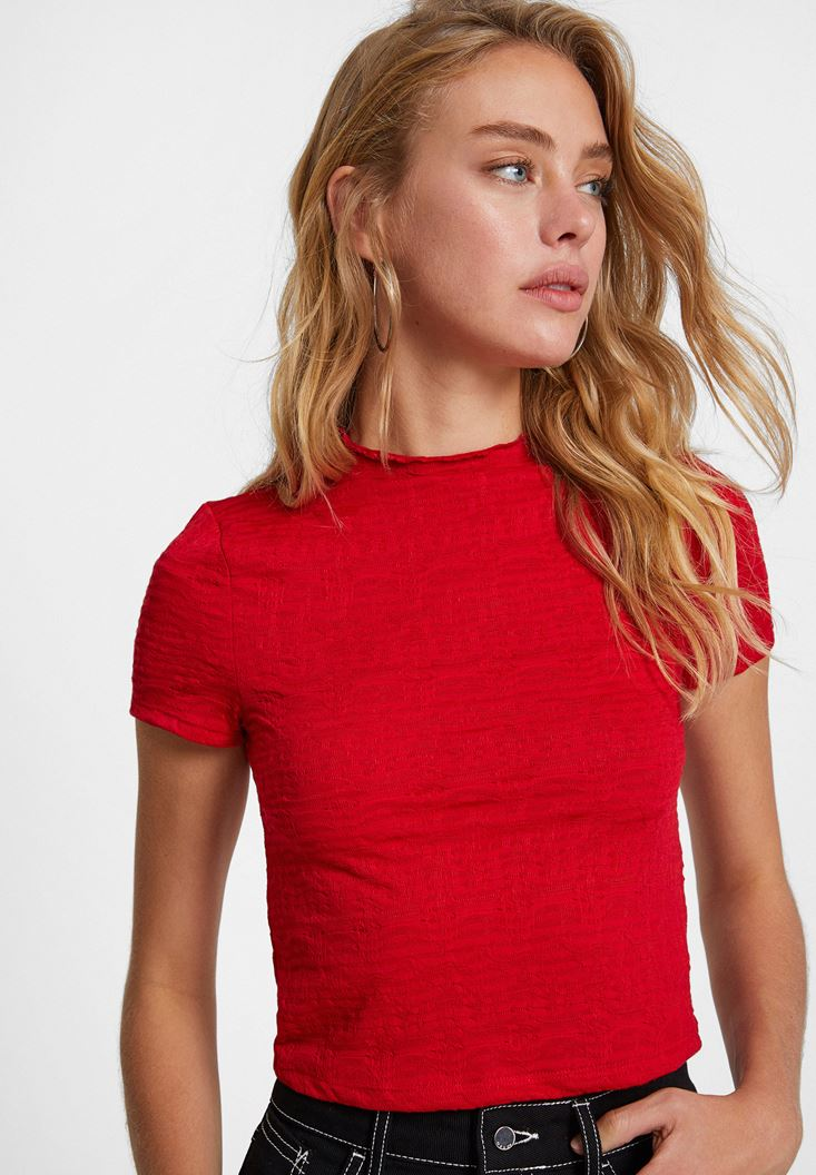 Red Crop Top with Neck Details