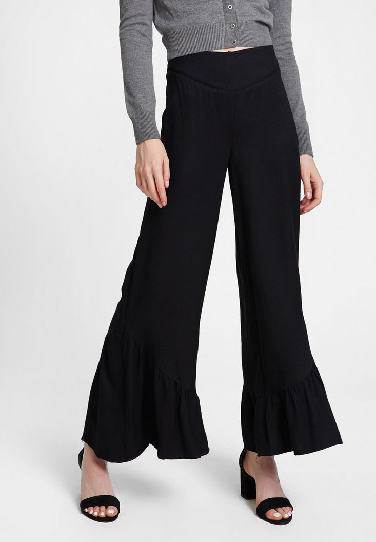 Black Trousers with Ruffle