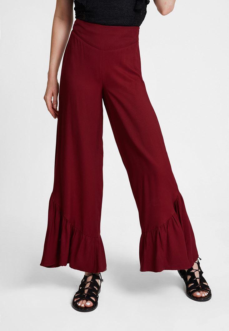 Bordo Fırfır Detaylı Bol Pantolon