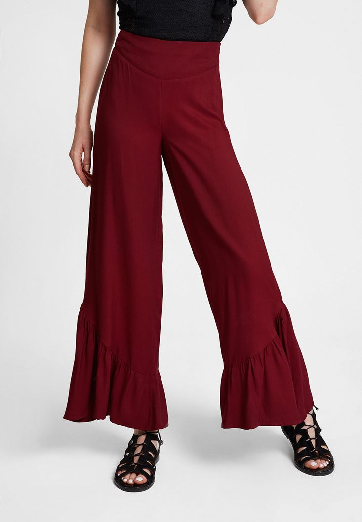 Bordeaux Trousers with Ruffle