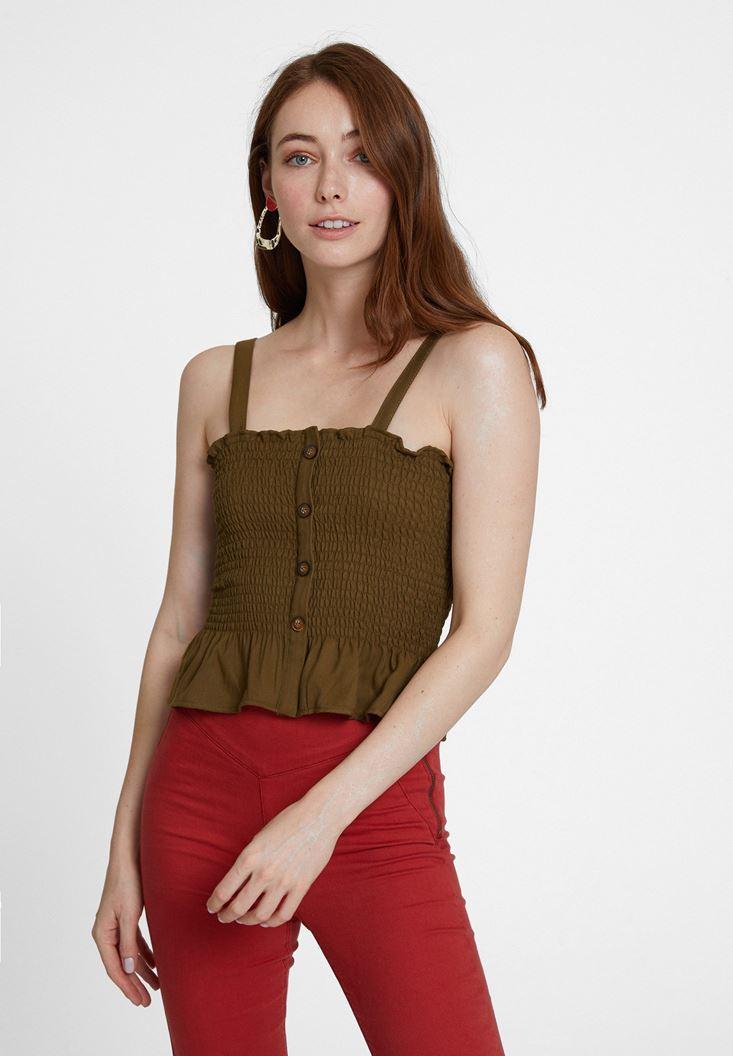 Yeşil Askılı Gipeli Bluz