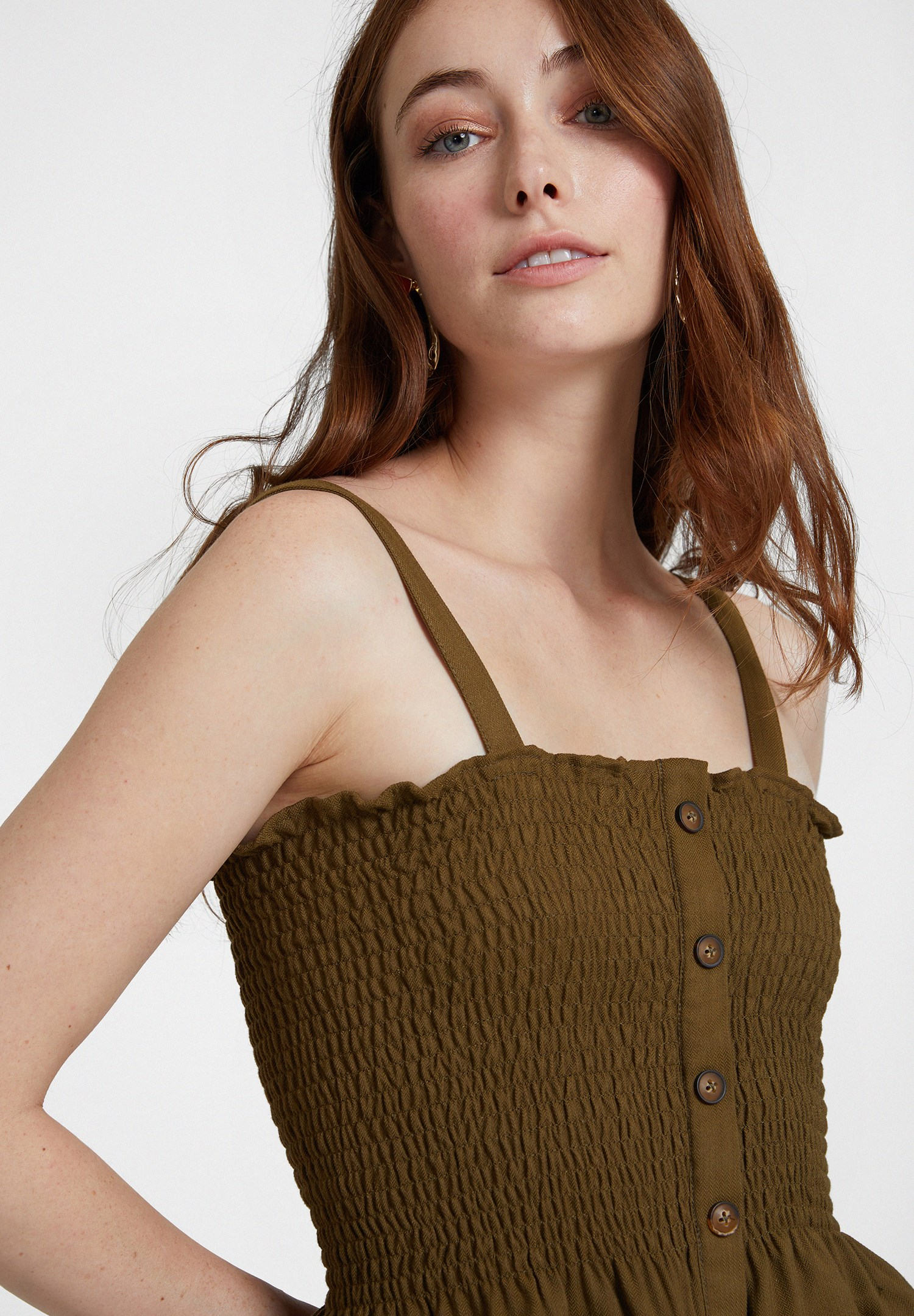 Women Green Smocked Top with Buttons Detail