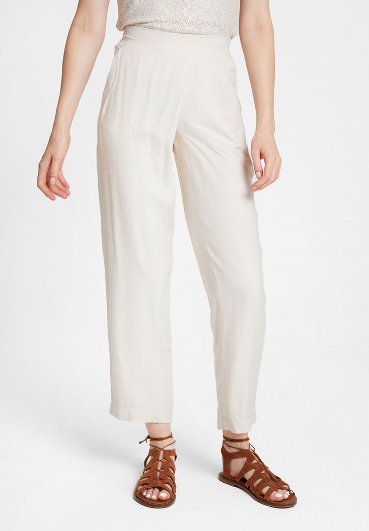Cream Trousers with Pocket