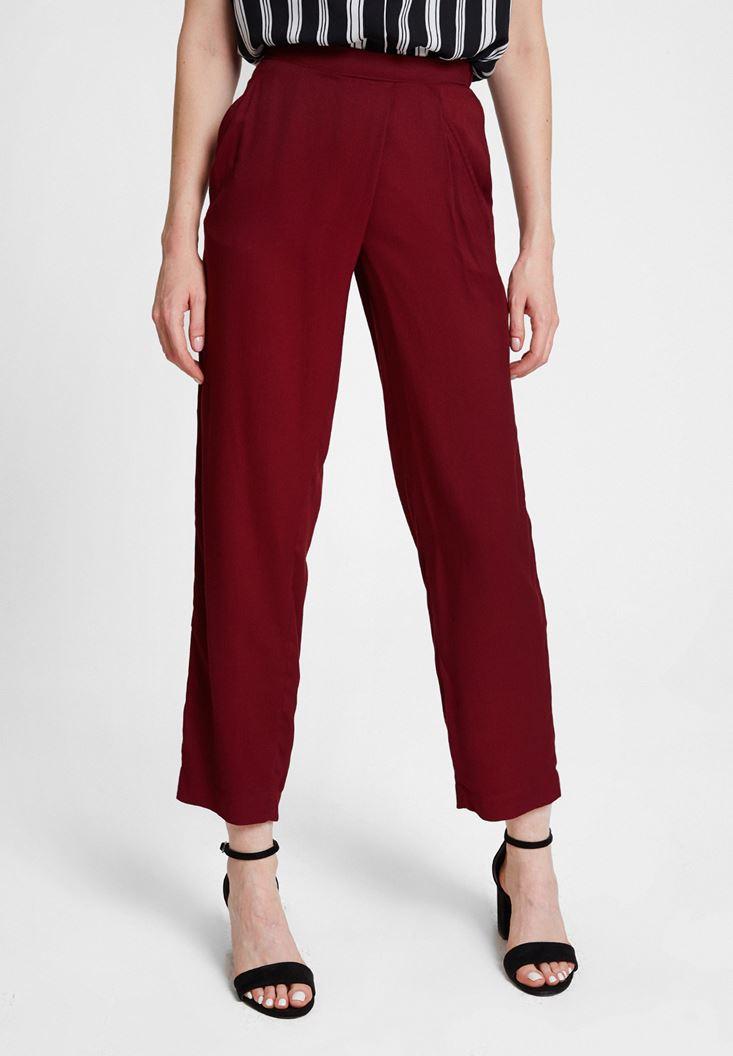 Bordo Beli Lastik Detaylı Cepli Bol Pantolon