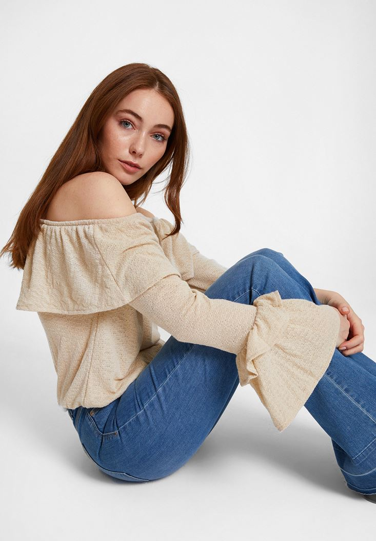 Cream Off Shoulder Blouse with Ruffle