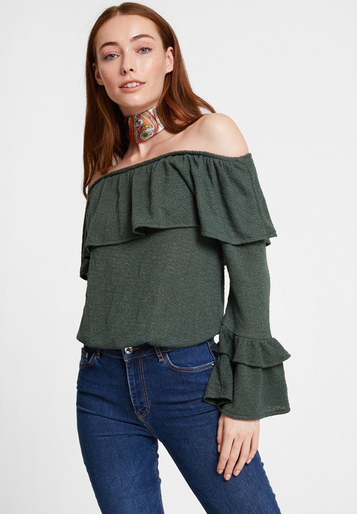 Green Off Shoulder Blouse with Ruffle