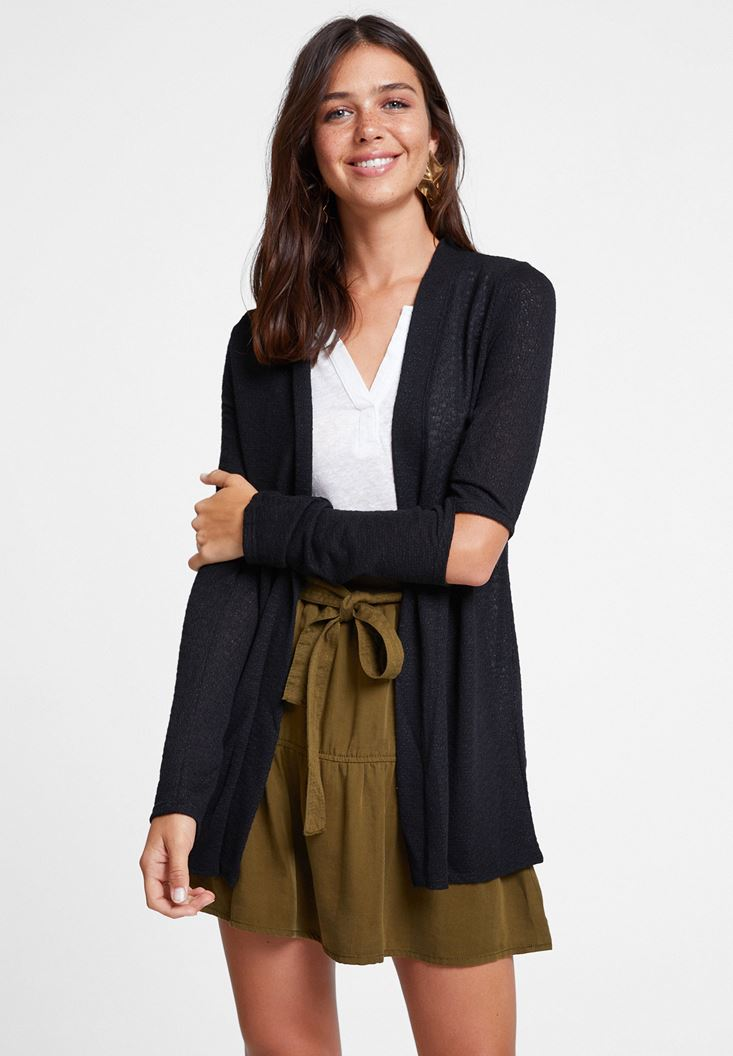 Black Cardigan with Cut Out Detail