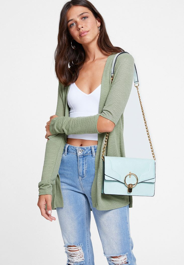 Green Cardigan with Cut Out Detail