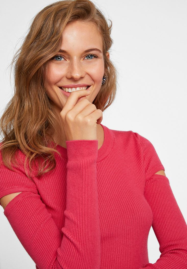Pink Cut Out Detailed Knitwear