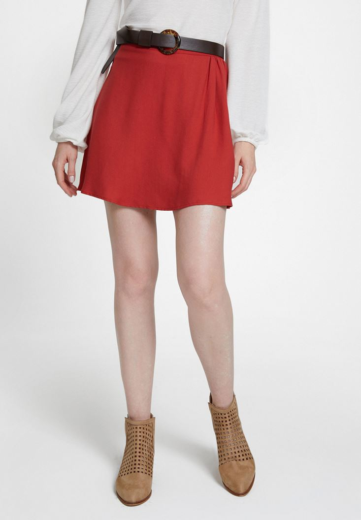 Red Viscose Pleated Skirt