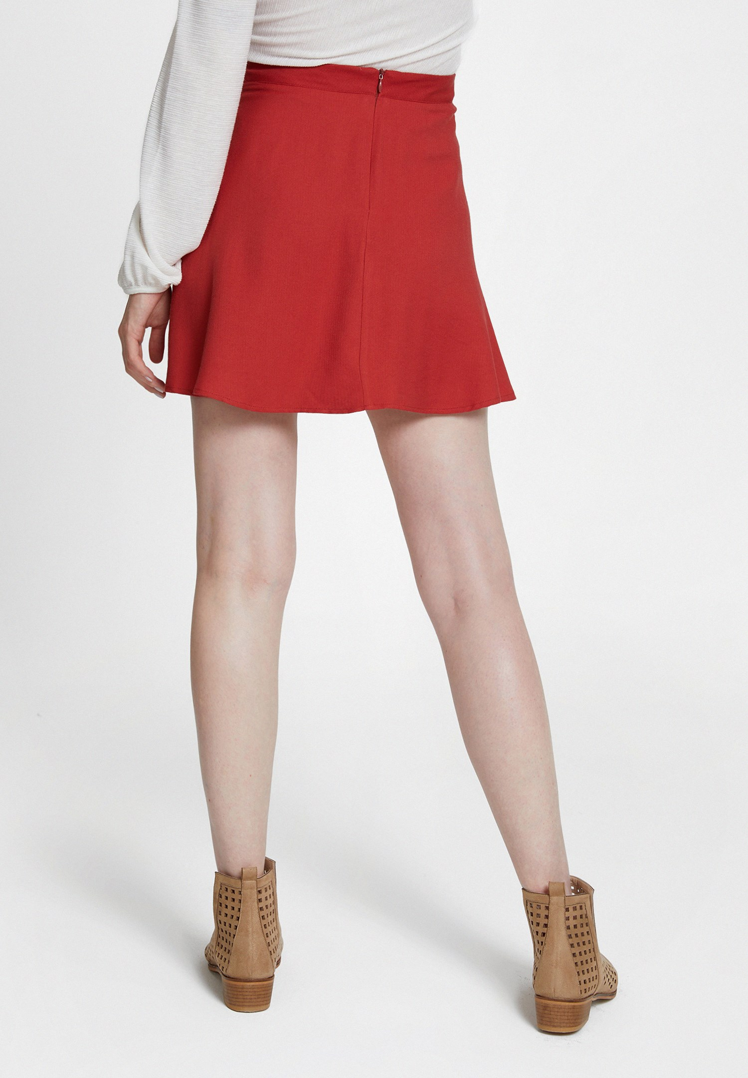 Bayan Kırmızı Volanlı Mini Etek