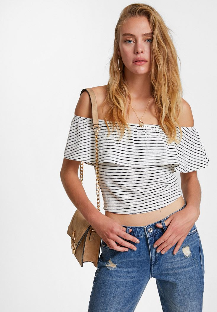 Mixed Off Shoulder Blouse with Stripe