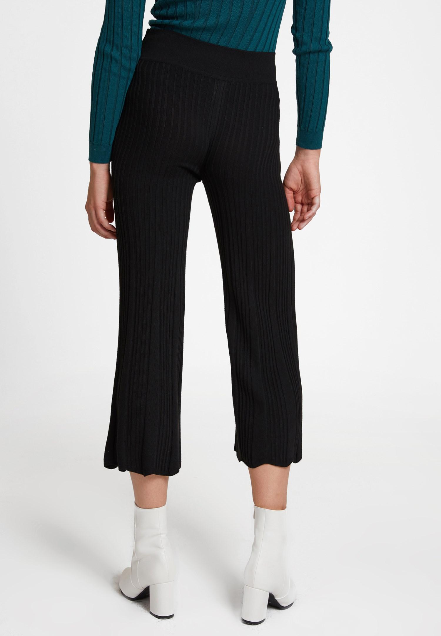 Bayan Siyah Beli Kemer Detaylı Pantolon
