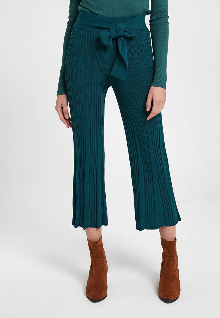 Yeşil Beli Kemer Detaylı Pantolon
