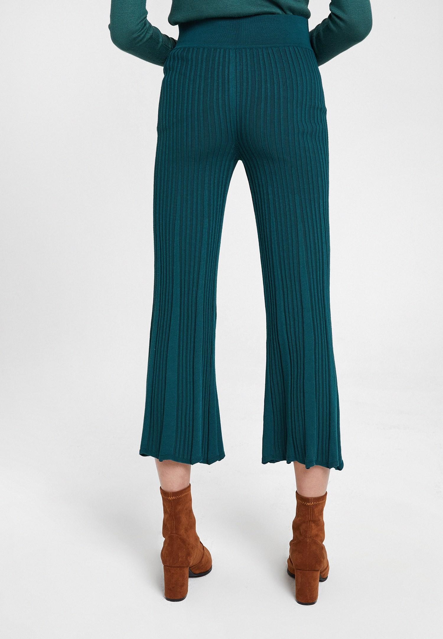 Bayan Yeşil Beli Kemer Detaylı Pantolon