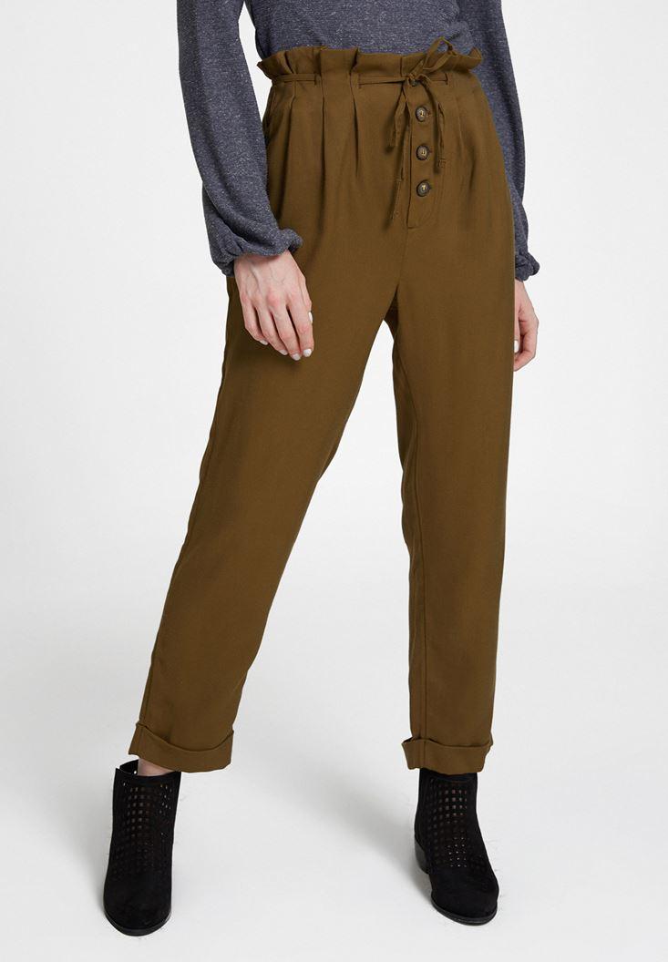 Yeşil Beli Bağlamalı Düğme Detaylı Pantolon